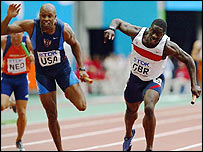 JJ Johnson overtakes Dwain Chambers on the finishing line