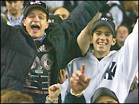 New York Yankees fans enjoy an ALCS victory over Boston