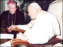 Archbishop Peter Smith, Archbishop of Cardiff, meets the Pope
