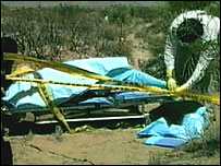 File photograph of an investigator covering the body of a victim found in the desert near Ciudad Juarez