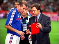 Madjer with Zinedine Zidane, a French player of Algerian parentage
