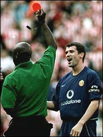 Roy Keane is sent off against Sunderland last season