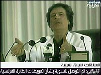 Colonel Gaddafi defended his deals in a TV speech
