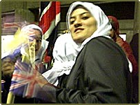 Muslim girls from Britain participate in the opening ceremony of the Third Muslim Women Games in Tehran