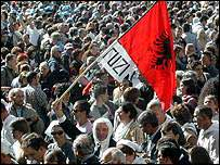 Albanian man in crowd