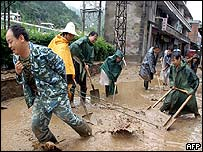 Thousands in China displaced by the summer's floods