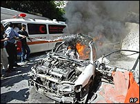 Remains of a car hit by an Israeli missile strike in Gaza