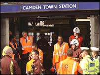 Emergency staff outside Camden Town station