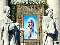 Mother Teresa's portrait among statues of the saints at the Vatican