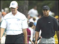 Ernie Els and Tiger Woods in action earlier this year