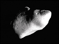 The Gaspra asteroid in space