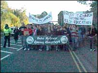 Student protest in Aberystwyth