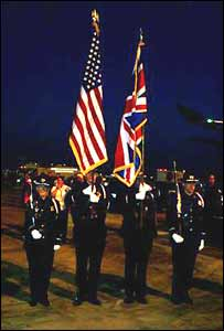 A guard of honour greets Cooncorde on its arrival in Boston, USA