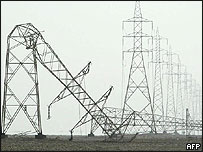 Toppled electricity pylons