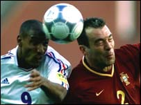 Nicolas Anelka of France and Jorge Costa of Portugal in action during the last European Championships in 2000