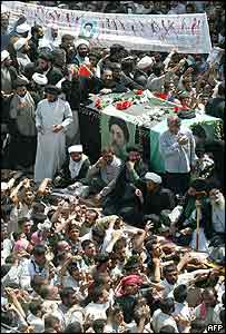 Mourners gathered at the funeral of Shia cleric Muhammad Baqir al-Hakim