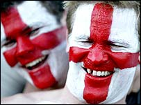 England fans celebrate victory over South Africa
