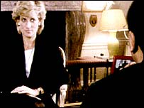 Princess Diana being interviewed by Martin Bashir