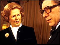 Margaret Thatcher with Panorama presenter Robin Day