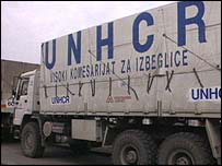 UNHCR lorry in Srebrenica