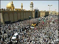 Shia mourners on the streets of Najaf