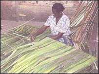 A woman weaving house building material