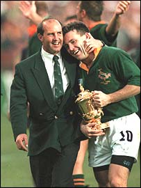 Joel Stransky with South Africa coach Gysie Pienaar in 1995
