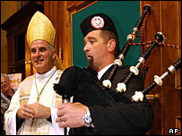 Archbishop O'Brien and Robert Fairbairn of the Lothian and Borders Police Pipe Band