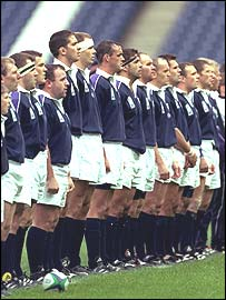 Scotland line up against Uruguay in 1999