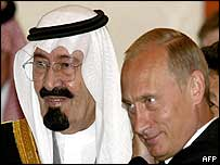 Crown Prince Abdullah (L) with President Putin in Moscow