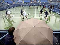 Rain has delayed the start of play at Flushing Meadows