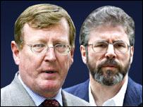 El ex ministro principal de Irlanda del Norte  David Trimble, y Gerry Adams, presidente de Sinn Fein