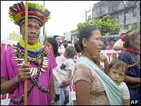 Indigenous groups protest against Texaco in Lago Agrio