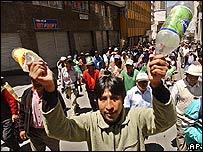 Protestas campesinas en Bolivia.
