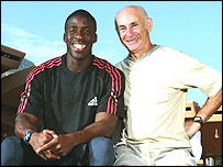 Dwain Chambers with his coach Remi Korchemny