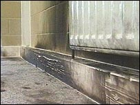 Some of the fire damage