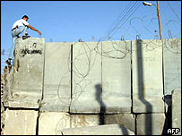 Concrete blocks separating the West Bank village of Abu Dis from Jerusalem