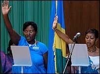 Rwandan MPs being sworn in