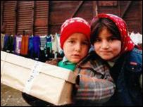 Children with shoebox gift