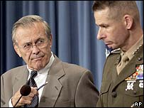 US Defence Secretary Donald Rumsfeld (left) with General Peter Pace