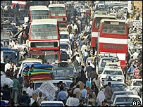 Traffic crawls down one of central Baghdad's busiest streets