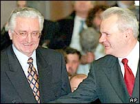 Franjo Tudjman (left) and Slobodan Milosevic