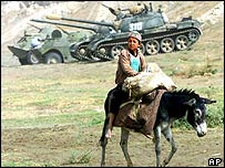 Northern Alliance tanks and boy on donkey, northern Afghanistan