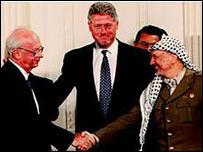 Then-Israeli Prime Minister Yitzhak Rabin (left) shakes hands on the Oslo agreement with Palestinian leader Yasser Arafat as then US President Bill Clinton looks on in 1993