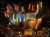 Fireworks over Walt Disney Concert Hall in Los Angeles