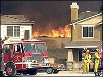 Fire blazes near new homes in Rancho Cucamonga, California
