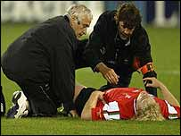 Wales prop Duncan Jones was stretchered off in the first half