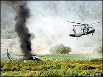 The helicopter was one of two flying over the area