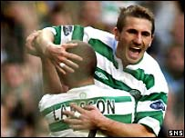 Liam Miller and Henrik Larsson celebrate as Celtic rout Aberdeen