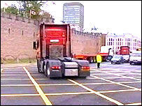 A convoy of lorries passed through Cardiff city centre